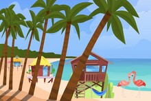 Beach Bugalow, Home Background, Vector Illustration. Summer Travel In House Building At Flat Seaside Resort, Cottage Hut Near Sea. Cartoon Holiday Vacation, Rest At Ocean And Stilt Wood House.