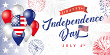 Happy Independence Day USA Horizontal Banner. Isolated Abstract Graphic Design Template. Red, Blue, White Colors. Calligraphic Lettering. Decorative Calligraphy, Colorful Congrats. Holiday Background.