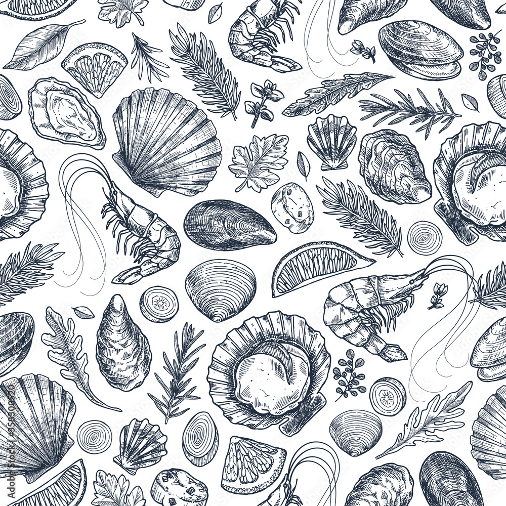 Seafood various seamless pattern. Shrimp, mussel, oyster, seashell, herbs. Vector illustration