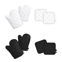 Pair Of White And Black Heat Resistant Hot Pad And Oven Mitt. Top View. Blank 3d Template, Mockup For Branding, Logo, Design Isolated On White Background.