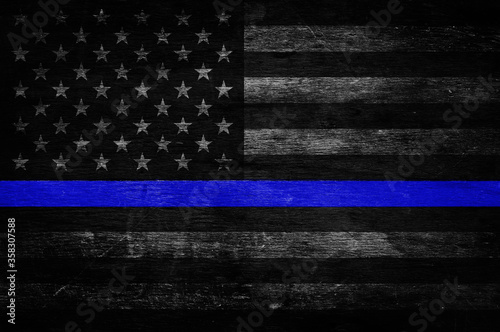 Fotografía An American flag symbolic of support for law enforcement,illustration
