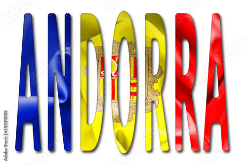 Photo Andorra Word 3D Illustration With Flag Texture