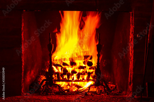 Fire burning wood in a fireplace