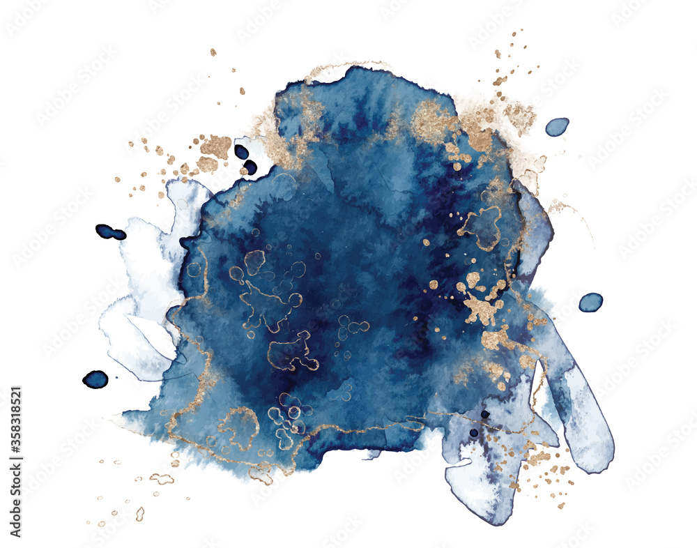 Obraz Abstract watercolor blue and gold shapes on white background. Color splashing hand drawn vector fototapeta, plakat