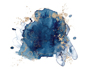 Abstract watercolor blue and gold shapes on white background. Color splashing hand drawn vector