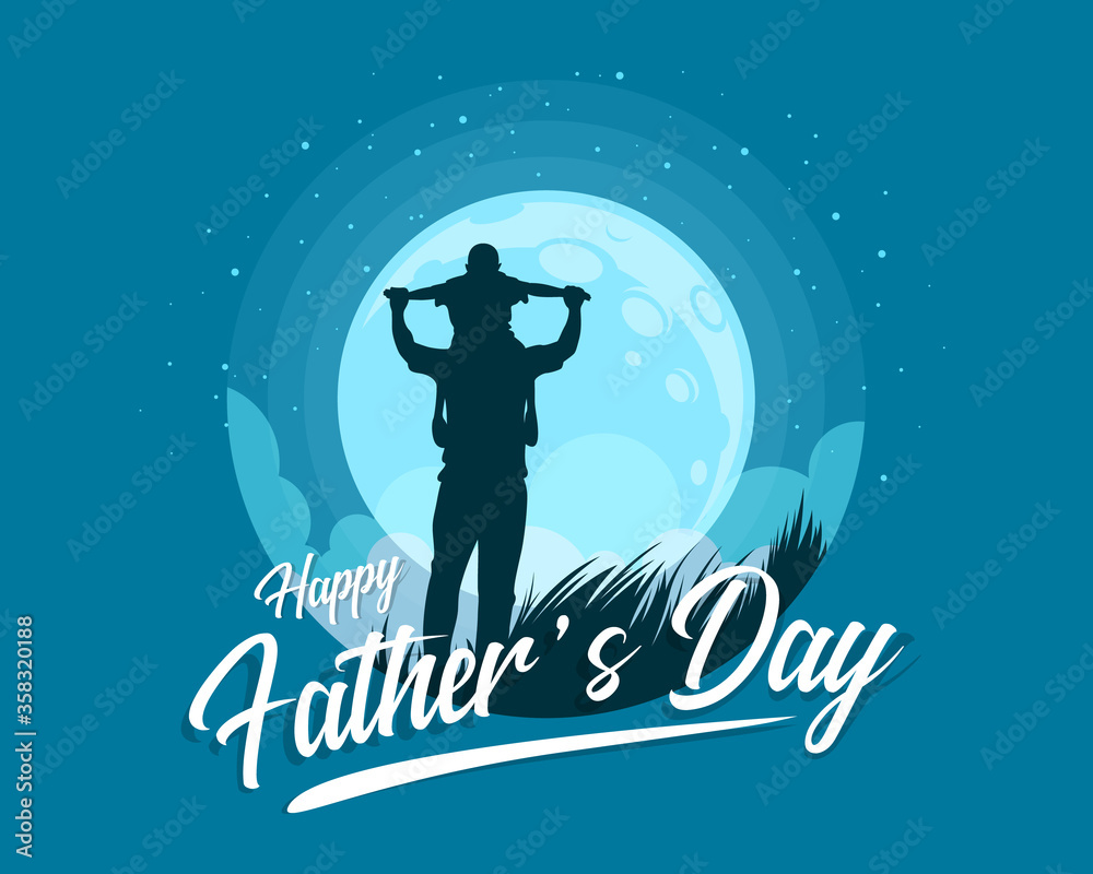 Fototapeta Happy father's day banner with Silhouette son is riding his father is neck at blue full moon night time vector design