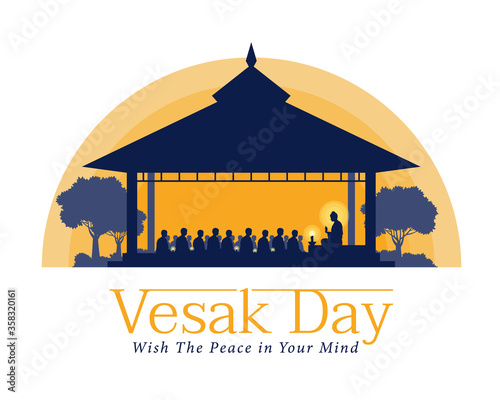 vesak day banner with The Lord Buddha preached to the monks in the ashram at nig Canvas-taulu