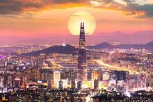 Sunset Of Seoul City And Seoul...