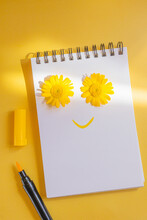 Notebook On A Spiral. Creative Concept Of A Smiley Face. A Smile Is Drawn On The Page With A Yellow Marker. Two Yellow Daisies As Eyes.