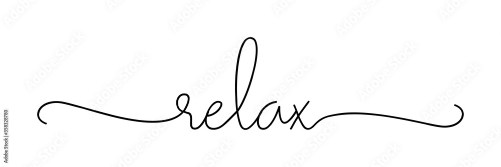 Fototapeta RELAX. Lettering typography poster vector design banner. Modern calligraphy quote script word relax. Hand drawn modern cursive font text - relax.