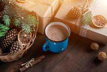 Festive Cocoa  In A Blue Mug ...