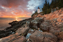Bass Harbor Head Light At Sunset In Acadia National Park