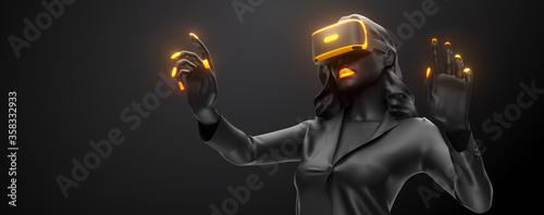 Fototapeta VR headset, online shopping. 3d render of the woman, wearing virtual reality glasses on black background. Woman buys a goods in one click. You will also find a EPS 10  for this image in my portfolio obraz