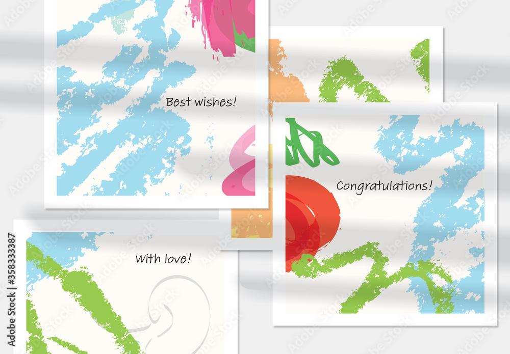 Fototapeta Card Layout with Crayon Textured Stokes Blue Orange