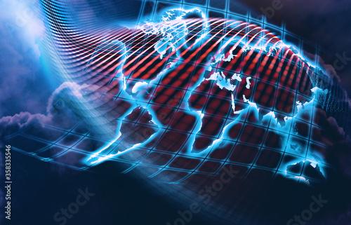 Conexión a Internet del mapa mundial abstracto Canvas Print