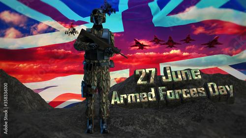 Fototapeta 3d illustration United Kingdom 27 june Armed Forces Day