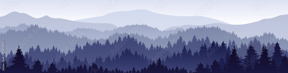 Fototapeta Vector horizontal landscape with fog, forest, mountains and morning sunlight. Illustration of panoramic view, mist and silhouettes mountains. Good for wallpaper, background, banner, cover, poster