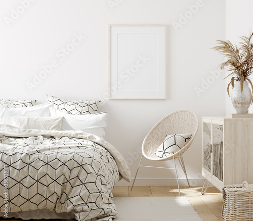 Cuadros en Lienzo Mock up frame in bedroom interior background, white room with natural wooden fur