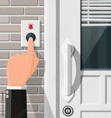 Hand push the bell button at the front door Tapéta, Fotótapéta