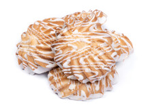 Group Of Cookies Drizzled With White Chocolate Isolated