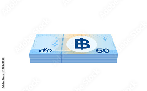 Obraz na plátne pile money 50 baht banknote thai, currency stack of fifty baht THB type, bank no