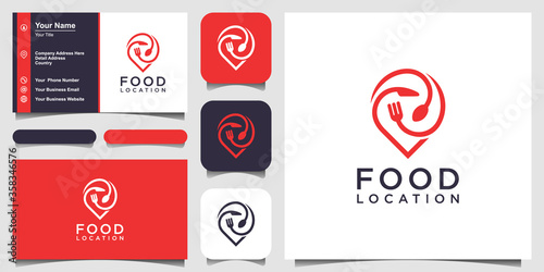 Fototapeta food location logo design, with the concept of a pin icon combined with a fork, knife and spoon. business card design obraz