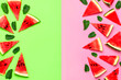 canvas print picture - Creative summer food concept. Watermelon pattern. Juicy slices of ripe red watermelon and mint leaves on multicolored pink and green background. Flat lay, top view, copy space. Summer berry, healthy