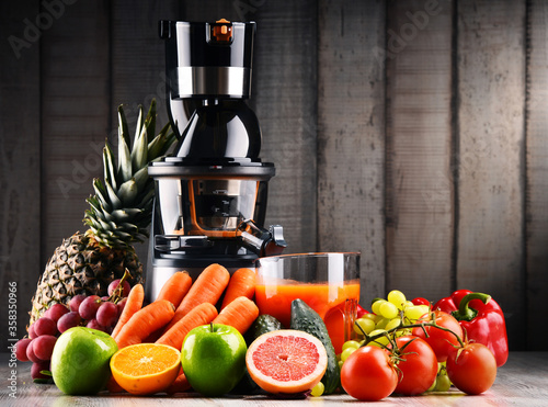 Slow juicer with organic fruits and vegetables. Canvas Print