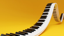 Curved Wavy Grand Piano Keyboard On Yellow Background. Abstract Design For Music Banners. 3D Rendering Image.