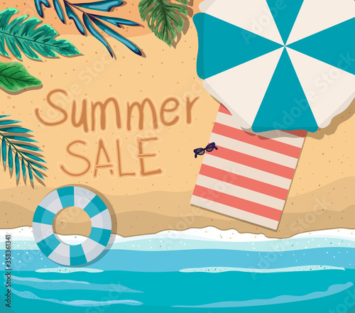 Foto beach with summer sale text top view design, Summer vacation and tropical theme