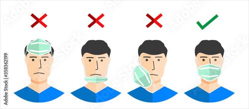 Obraz na plátně How to wear a mask correct