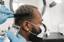Barber Wearing Surgical Mask A...