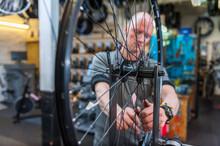 Bicycle Mechanic Working In Bi...