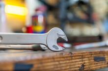 Detail Of Screw Wrench In Bike Shop