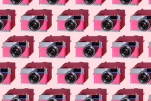 Seamless Pattern Of Rows Of Vintage Analog Cameras