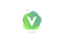 V Alphabet Letter Logo For Company And Business With Gradient Design. Pastel Colour Template For Corporate Identity In Green And White