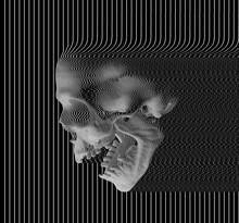 Digital Illustration Of Digital Glitch Art Screaming Skull In Oscilloscope RGB Line On Black Background From 3D Rendering.