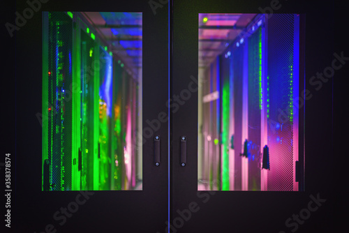 A cold aisle containment system in the datacenter. Canvas Print