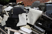 Old Office Equipment. Electronic Waste Devices Consist Of A Monitor, Printer, Desktop Computer And Fax For Reuse. Plastic, Copper, Glass Can Be Reused, Recycled Or Recycled