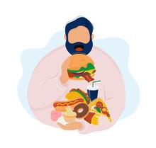 Fat Man Eating Burger And Various Fast Food