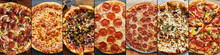 Food Collage Of Various Types Of Pizza In Flat Lay Composition