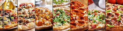 Foto pizza food collage with different styles
