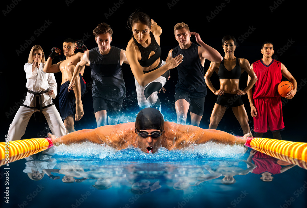 Fototapeta Sport collage. Swimming, running, fitness, bodybuilding, tennis, fighter and basketball players