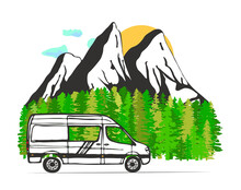 White Van With Forest And Moun...