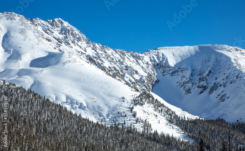 Snow Covered Slopes of Rocky Mountains