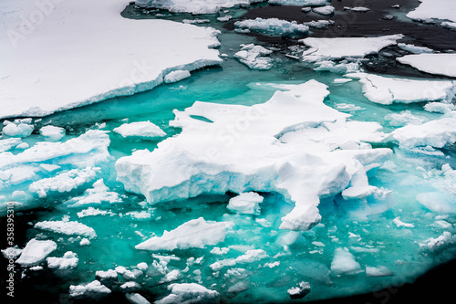 Ice landcape on the water in Arctic Wallpaper Mural