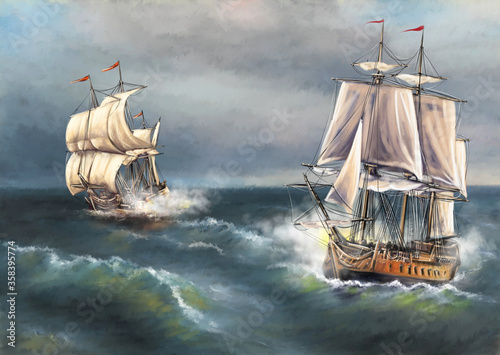 Valokuva Digital oil paintings sea landscape, sailing ships in the sea