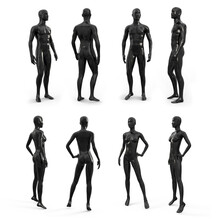 Black Plastic Female And Male Mannequin For Clothes. Side, Front And Back View. Plastic Mannequin For Clothes And Shop Window Decoration. 3d Illustration Isolated On A White Background.