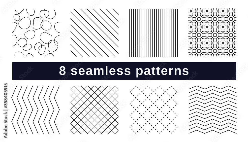 Fototapeta Set of 8 seamless patterns, black and white textures. Vector swatches with waves, cross, dots, lines, stones