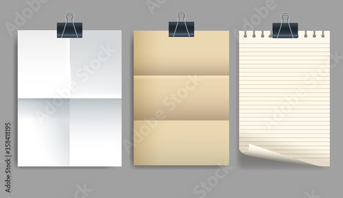 Photo set of attachment banners paper icons